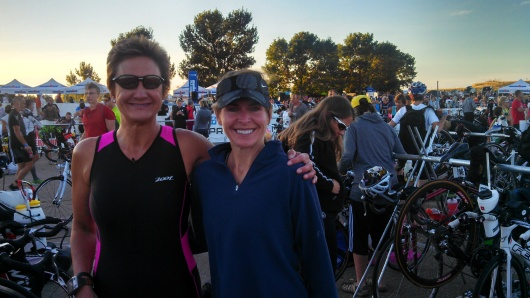 Transition area before Boulder 70.3 with Marla